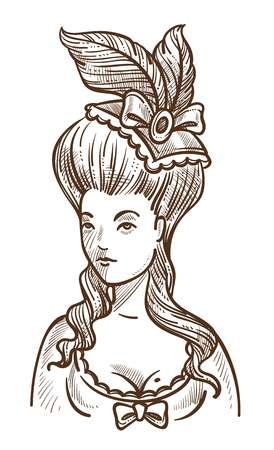 Medieval woman in dress with feathers in head and big hairstyle sketch Vektoros illusztráció