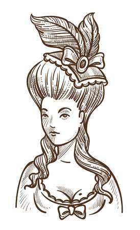 Mujer medieval en vestido con plumas en la cabeza y boceto de peinado grande Ilustración de vector