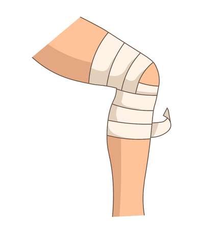 Bandage du genou bandage élastique blessure articulaire traumatisme de la jambe vecteur de premiers secours isolé partie du corps humain médecine traumatologie traitement et soins de santé entorse ménisque dommage aide d'urgence douleur ou douleur.