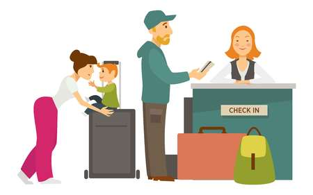 Check in airport reception desk family with luggage and receptionist vector father with ticket and mother with baby luggage or suitcase backpack and valise flight boarding holiday or vacation.