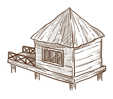 Bungalow with pier wooden dwelling on water with straw roof
