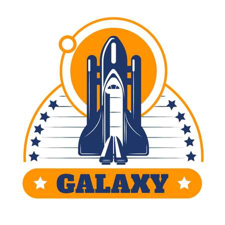 Galaxy space program isolated icon spaceship or rocket and stars