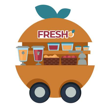 Street fresh juice cart with squeezer and fruits baskets isolated van vector orange drink containers and tap organic citrus beverages on wheels transport food truck summer refreshment harvest selling. Illustration