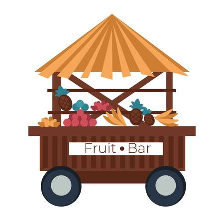 Beach food cart fruit bar stall banana and pineapple pomegranate and oranges isolated vector wooden hut with straw roof trolley or van kiosk on wheels organic food natural harvest selling vitamins.