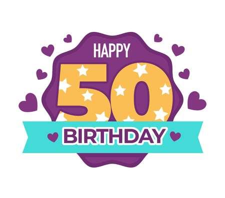 Alles Gute zum Geburtstag 50 Jahrestag isoliertes Symbol Grußzeichen