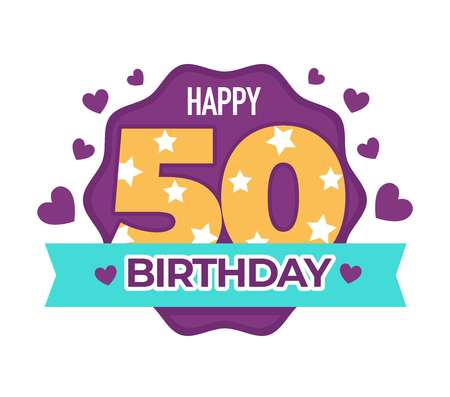 Happy birthday 50 anniversary isolated icon greeting sign