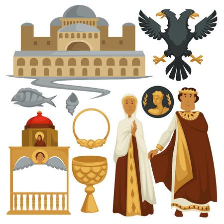 Byzantium history symbols heraldry architecture and religion emperor Illustration