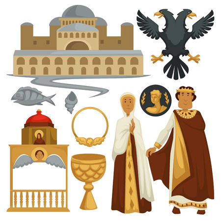 Byzantium history symbols heraldry architecture and religion emperor Illustration