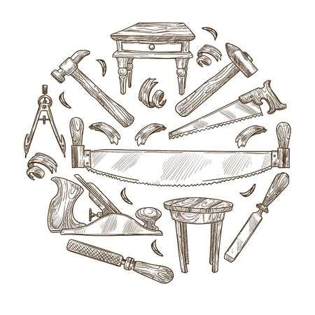 Building instrument sketch carpentry tools wood work