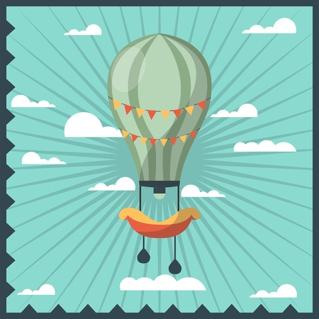 Airballon isolated in sky with white clouds colorful greeting card with dark blue wavy frame. Fast airy mean of transportation with basket for people and big wind-blown ball vector illustration Иллюстрация