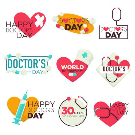 Lekarze dzień na białym tle ikony pigułki i strzykawki