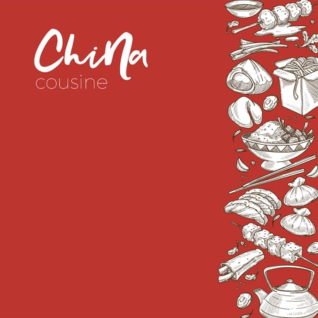 Chinese dishes food and drink China cuisine sketch vector soup and meatballs wish cookies and noodles in box rice with meat dim sum and dumplings salmon on skewer and roll teapot and chopsticks. Foto de archivo - 125203332