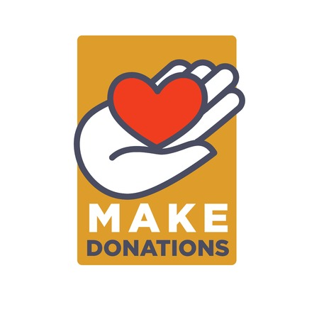Hand and heart logo template for social donation and charity action organization.