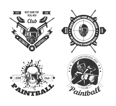 Paintball game sport club logo templates of gamer shooting target or paint ball gun Banco de Imagens - 117444865