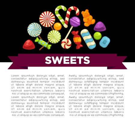 Candies and sweets poster of confectionery caramel hard candy and chocolate comfi Иллюстрация