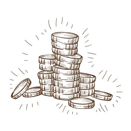 Metal cash shiny coins stack isolated sketch money and currency business and finance wealth and profit symbol economy and budget 일러스트