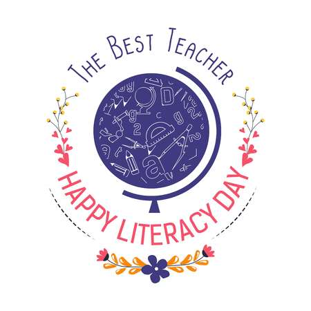 Literature teacher day literacy holiday isolated vector icon globe and stationery flower branches reading and writing knowledge and education wisdom in books and textbooks greeting emblem or logo. Illustration