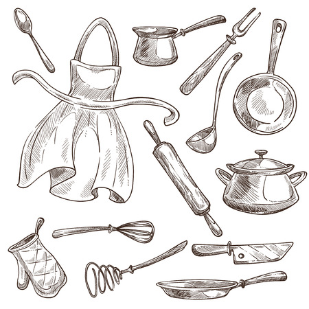 Cooking tools kitchenware and apron isolated vector sketch saucepan and frypan rolling pin and ladle whisk and knife coffee turk and spoon fork and kitchen glove dishware and cutlery cook items.