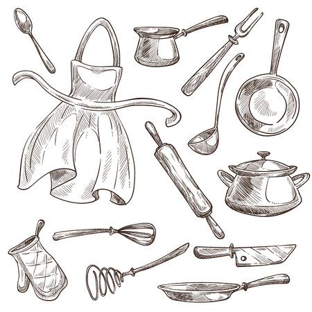 Narzędzia kuchenne przybory kuchenne i fartuch na białym tle szkic wektor rondel i patelnia wałek do ciasta i kadzi trzepaczka i nóż do kawy turk i łyżka widelec i rękawica kuchenna naczynia i sztućce gotować elementy.