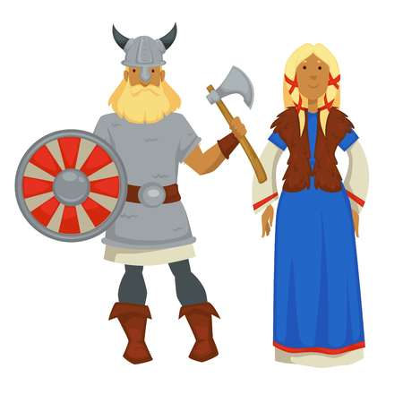 Man and woman vikings in traditional clothing and armor with weapon vector helmet with horns shield and ax dress and fur vest bearded warrior and wife Scandinavian berserk Norwegian history. Çizim