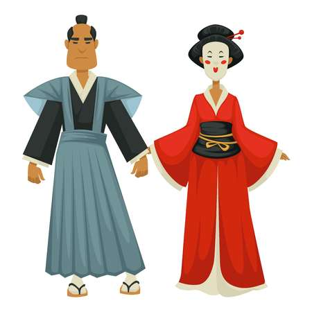 Samurai and geisha Japanese man and woman in traditional clothing vector isolated male and female character Japan culture makeup and kimono flip flops with socks oriental country national clothes.