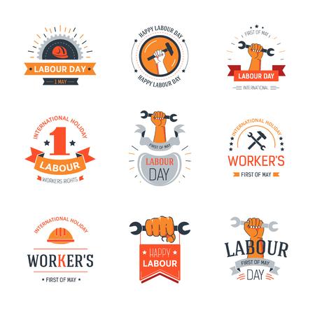Conjunto de pancartas del día del trabajo con trabajadores y llaves. Ilustración de vector