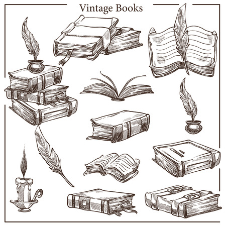 Literature vintage books isolated sketches feather and ink pot vector textbooks and volumes pages and hardcover education and knowledge history and ancient wisdom candle and writing tool manuscript.