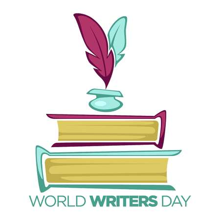 Books and feathers world writers day literature professional holiday isolated icon vector textbooks volumes and writing tool literacy and poetry inkpot manuscript in hardcover novels and fiction. Illustration
