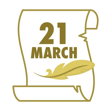 Parchment and feather literacy spring holiday isolated icon 21 march paper sheet and writing tool wisdom and knowledge literacy and poetry manuscript ancient lettering celebration and appreciation.
