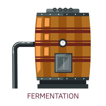 Winemaking fermentation barrel grape alcohol drink production Illustration