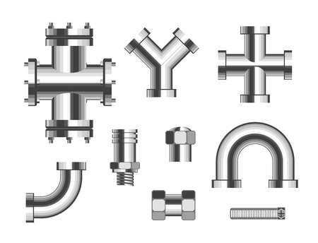 Steel pipes metal pipeline vector isolated objects connectors fittings valves industrial plumbing water and gas pipeline and pipe part sewerage bathroom or kitchen manufacturing details canalization. Illustration