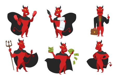 Devil in cloak with horns and tail red skin demon isolated icons vector broken heart and soul contract trident and office suit with briefcase money dollar bills creature from hell sins and evil deeds. Illustration