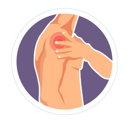 Traumatology shoulder injury bruise pain or ache isolated male body vector arm joint dislocation or trauma arthritis or rheumatism osteoporosis bone fracture skeleton treatment and medicine disease. Stock Vector - 124935867