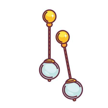 Boucles d'oreilles accessoires féminins bijoux anciens avec objet isolé perle vecteur élément de mode goutte modèle boules sur chaîne oreille décorations paire orfèvre ou bijoutier travail design féminin cadeau cher Vecteurs
