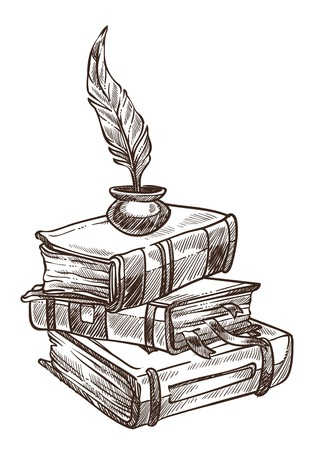 Antique books with bookmarks and feather with ink vector plumage in container for writing on page publications in thick volumes info in old source of knowledge colorless monochrome sketch outline. 向量圖像