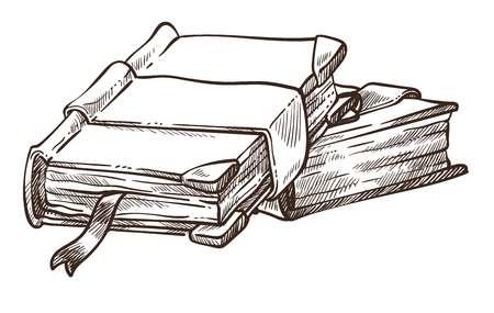 Libros con portadas antiguas y marcadores monocromo bosquejo esquema vector publicación aislada material impreso en páginas con cintas antigüedades y enciclopedia vintage y conjunto de pila de volúmenes antiguos.