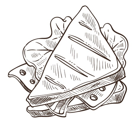 Sandwich tasty food with bread and salad leaves vector monochrome sketch outline of meal with roasted ingredients and fresh vegetables cheese and meat stuffed inside ham and greenery flat style.