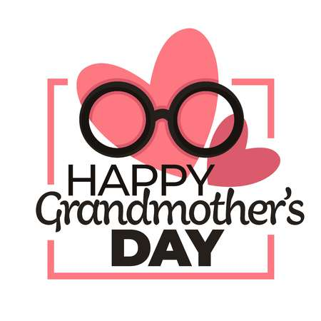 Happy grandmother day isolated holiday icon eyeglasses and hearts