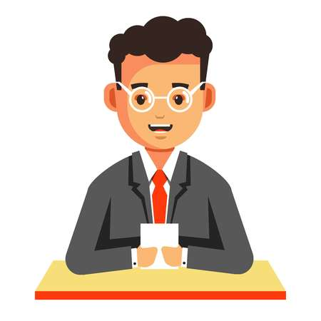 News reader man in suit TV host isolated male character in glasses and tie vector journalist reading from paper video correspondent guy sitting at table commentator television program broadcasting.
