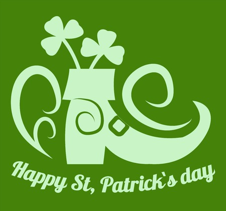 Clover and leprechaun boot happy Saint Patrick day Irish holiday vector festival or party alcohol beer or whiskey and traditional symbols plant and footwear green color celebration and greeting. Ilustrace