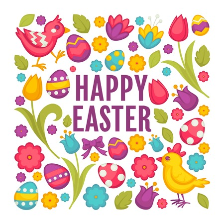 Chicken and bunny eggs and tulips Easter religious holiday vector flowers and festive symbols Illustration