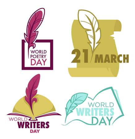 Writers and poetry day isolated icon feather and book vector 向量圖像