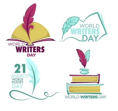 Día de escritores y poesía icono aislado pluma y libro vector