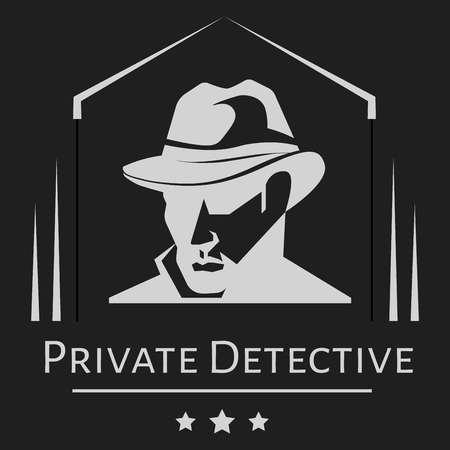 Privatdetektivvektormann mit Hut für Ermittlungsdienstleistungsagentur