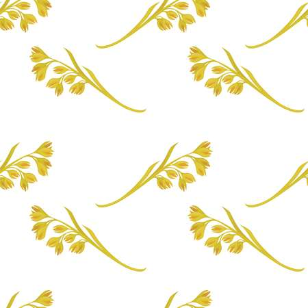 Oat ears of grain vector seamless pattern on white background