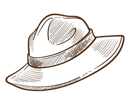 Canadian mounted headdress or scout headdress isolated sketch vector male accessory guide or explorer headgear expedition or journey equipment Canada symbol tourism and traveling outdoor activity. Çizim