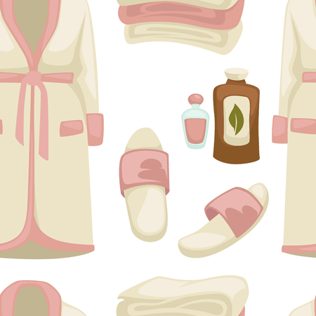 Massage oil spa procedure bathrobe and sleepers seamless pattern vector beauty salon clothes and aroma liquids endless texture cosmetic means outfit garments and footwear repeated in wallpaper.