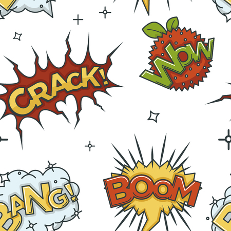 Crack wow and boom comic sounds visualization seamless pattern Vettoriali