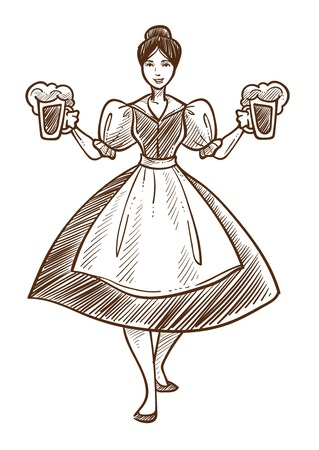 Woman in dress with beer Oktoberfest waitress isolated sketch
