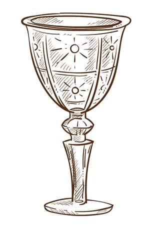 Glass cup crystal goblet or isolated sketch glassware vector tableware expensive medieval relic fragile ornament or engraving curves on dishware for drinks or beverages and water bar element.